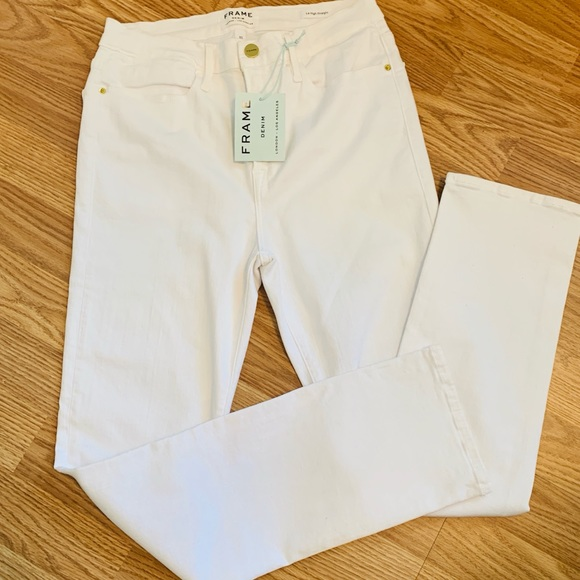 Frame Denim Denim - Frame White Le High Straight Jeans New With Tags